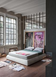 Gravity Home: Industrial Loft Bedroom Filled With Art