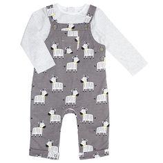Buy John Lewis Baby Zebra Dungaree Set , Charcoal, Tiny baby Online at johnlewis.com