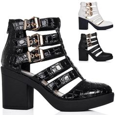 New Ladies Ankle Boots Ankle Boots Shoes Block Heel Platform Buckle