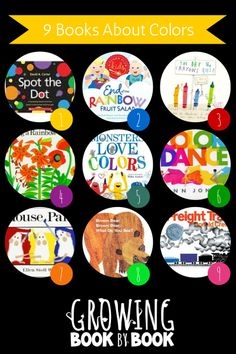 Books about colors are perfect for learning about colors and color mixing.  Recommended by growingbookbybook.com