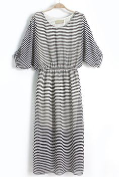 Black Batwing Sleeve Striped Bandeau Chiffon Dress