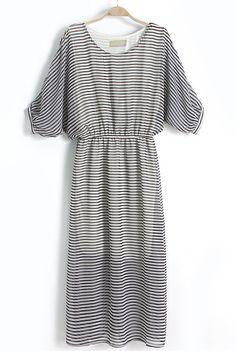 Black Batwing Sleeve Striped Bandeau Chiffon Dress