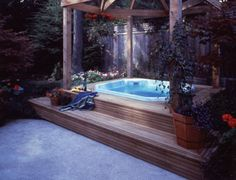 I would do this with a giant bathtub and have an outdoor bathing area cause I am awesome like that