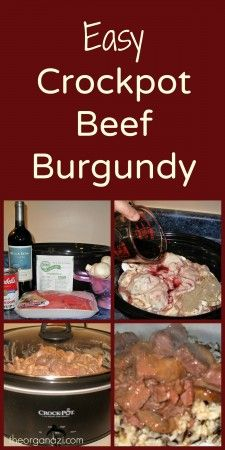 Delicious crock pot recipe!  And with only five ingredients, this beef burgundy takes only a few minutes to prep.  #crockpot