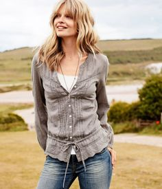 so cute.  i have a thing for grey these days. #tops, #blouses