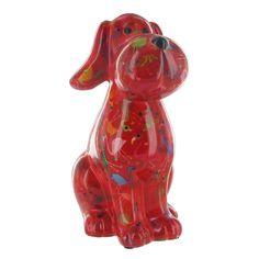 Pomme Pidou Toby the Dog Animal Money Bank - Red Flamingos