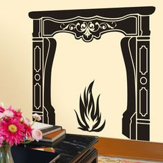 Audrey Fireplace Wall Decal, $30, now featured on Fab. How cool is this. A cheap and easy alternative to tacky wallpaper, and still make a quirky statement.