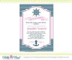 It's a Girl Nautical Baby Shower for Baby by adlyowlinvitations, $14.00