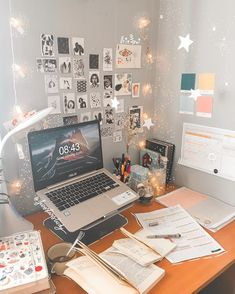 Desktop is a place of inspiration. Make yourself a cozy corner where you can work at any time and gain strength and penetrate into the atmosphere. Study Room Decor, Cute Room Decor, Room Ideas Bedroom, Bedroom Decor, Study Rooms, Study Desk, Study Space, Study Areas, Desk Inspiration