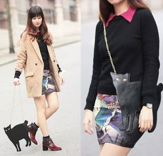 Romwe Magenta Collar Sweater, Romwe Cat Purse, Romwe Rooftop Print Skirt, Romwe Oversized Camel Blazer, Mcq Oxblood Creepers | Catwalking, literally (by Mayo Wo) | LOOKBOOK.nu