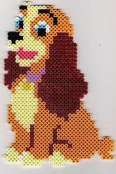 DIY - hama beads Disneys Lady by Dominelle Decoupage Perler Bead Designs, Easy Perler Bead Patterns, Melty Bead Patterns, Hama Beads Design, Diy Perler Beads, Perler Bead Art, Beading Patterns, Cross Stitch Patterns, Doily Patterns