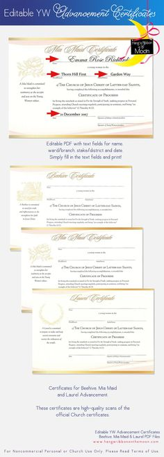YW Advancement Certificates Editable PDF [Beehive, Mia Maid & Laurel] FREE download!: