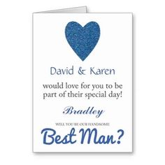 Will You Be My Best Man Blue Glitter Heart Greeting Card