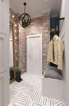 Spice up small hall with brick wallpaper - Home Page Flur Design, Hall Design, Design Entrée, Design Ideas, Apartment Entrance, House Entrance, Entrance Foyer, Entryway Decor, Tile Entryway