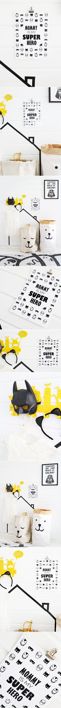 What kid needs superheroes when they have a mommy, right? Modern kids room / nursery poster for every child who loves Superman, Spider-Man, Batman, The Flash ++.Darth Vader / Star Wars Typography Print is also from my online shop. Buy it at epicdesignshop.com   http://www.reidunbeate.com/2016/02/20/mommy-is-my-superhero-kids-room-poster/