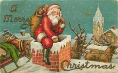 Santa Claus Half In Chimney~Reindeer Sleigh on Roof~Blue Night~Emboss~HI Robbins