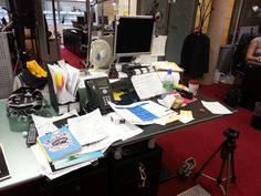 """Charlie Riggall, UM London, Ideation & Strategy. """"A cluttered desk is the sign of a creative mind!"""" #myawesomedeskg14"""