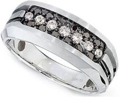 Mens 14k White Gold with Black Finish Accent Black and White Diamond Ring