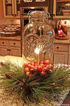 Mason Jar decorated for Christmas Feature Friday: Marc's Christmas House Tour! Prim Christmas, Christmas Candles, Christmas Centerpieces, Winter Christmas, Vintage Christmas, Christmas Island, Cowboy Christmas, Christmas Vacation, Father Christmas