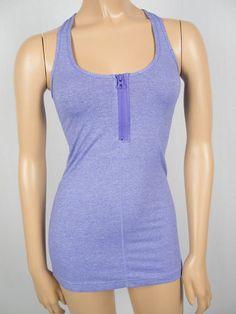 LULULEMON Purple Sleeveless Shirt XS Run Walk Top Pilate Racerback 1/2 Zip Front