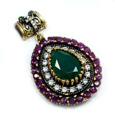 EMERALD,RUBY & WHITE TOPAZ (LAB)925 STERLING SILVER WITH BRONZE TURKISH PENDANT JEWELRY PG-7105  http://silvesto.com/index.php?route=product/product&filter_name=7105&product_id=2996