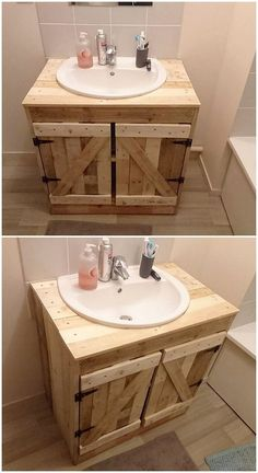 This wood pallet awesome design will make you offer with two outstanding creations for decorating your bathroom areas in the brilliant way. First side, is giving out the artwork design of the sink portion where its bottom side is introducing the cabinet a Pallet Vanity, Pallet Bathroom, Bathroom Sink Decor, Diy Vanity, Bathroom Storage, Bathroom Vanities, Vanity Ideas, Bathroom Pink, Bathroom Remodeling
