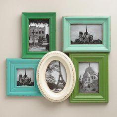 Aqua and Green Morgan Frames, Set of 5