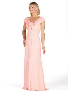 Mother of the Bride Dresses - $132.98 - Empire V-neck Sweep Train Chiffon Mother of the Bride Dress With Ruffle Flower(s) (00805007130)