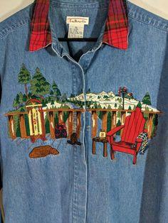 3ba9f274a48 Denim Shirt Womens XL Cabin Ski Lodge Dog Sled Mountain Snow Plaid Button  Front  Talbots
