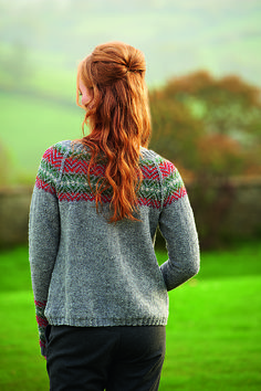 Hair half up, pulled-through ponytail.  Sweater:  Knitting:  Ravelry: Conifer pattern by Rosee Woodland