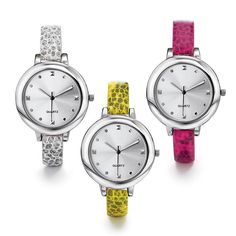 Ladies silvertone round face watch with a faux-snakeskin leatherlike strap. Offered in your choice of white, pink, or yellow. Regularly $29.99, buy Avon Jewelry online at http://eseagren.avonrepresentative.com