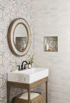 Revetement de sol et mur Encaustic Hex Blu Blu Widow - 8 x 9 po. - The Tile Shop The Tile Shop, Style Deco, Bathroom Renos, Bathroom Ideas, Shower Bathroom, Bathroom Fixtures, Wall And Floor Tiles, Wall Tile, Style Tile