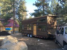Cory and Hannah Tanler designed and built their own tiny house using salvage materials to help keep costs down, which wound up totaling ~$20,000.