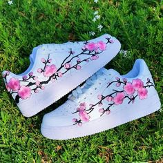 Pink Cherry Blossom Each individual pair is handcrafted to orderCherry Blossom is Stitched to Perfection!Brand new with boxFinal Sale. Non refundable/ No Exchanges.Turn around time weeks + Shipping Time(subject to change without notice depending on order… Cute Nike Shoes, Cute Sneakers, Nike Air Shoes, Shoes Sneakers, Shoes Heels, Jordan Shoes Girls, Girls Shoes, Pink Shoes, Shoes Women