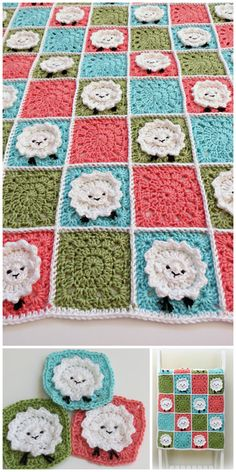 Crochet Baby Blanket Pattern ♥ Sheep Baby Blanket Pattern  ♥ Crochet baby blanket pattern. Adorable sheep grazing in this adorable baby blanket! ♥ Cute sheep with color and texture that will stimulate your newborns senses.  ♥ This is a fun and easy blanket that works up quickly. ♥ The 11 page pattern has clear instructions and many large pictures to guide you.  ♥ The blanket is made with worsted weight yarn, and uses basic crochet stitches ♥ Pattern by Deborah O'Leary Patterns