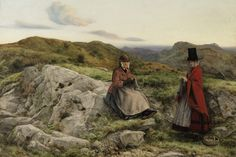 The Athenaeum - DYCE, William Scottish Realist 1(806-1864)_Welsh Landscape with Two Ladies Knitting- 1860
