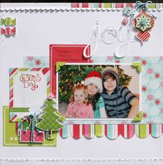 #Papercraft #Scrapbook #Layout. Cute Christmas layout by Susan Stringfellow, love how she stitched the candy stickers on the side of the layout and love the border at the top.