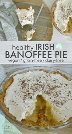 "Perfect for St. Patrick's Day!! Healthy Irish Banoffee Pie Recipe - Vegan, grain free, dairy free, gluten free. A dessert featuring bananas, British ""toffee"" , whipped coconut cream, and an almond pie crust."