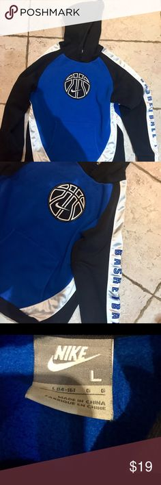 Nike boys basketball sweatshirt Great condition worn maybe 2x royal blue black white pull over sweatshirt with pockets in front by stomach . Nike brand size boys large 14-16 with hood and basketball written down arm . Very warm and very cool  Shop more and save more Nike Shirts & Tops Sweatshirts & Hoodies