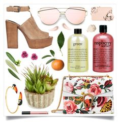 """""""It's a sunny day"""" by racanoki ❤ liked on Polyvore featuring Gucci, philosophy, Allstate Floral, Rebecca Minkoff, Nach, Giorgio Armani, Too Faced Cosmetics, Bare Escentuals, Soap & Glory and RaCaNoKi"""