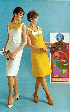 White and Yellow Summer Sleeveless Dresses 1965