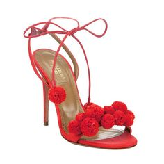 Head over Heels - Aquazzura PonPon Sandals l Ria Pom Pom Sandals, Red Sandals, Heeled Sandals, Strappy Sandals, Leather Sandals, Valentines Day Bags, Ankle Strap Shoes, Pretty Shoes, Red Shoes