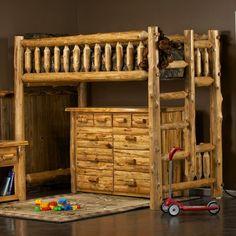 Cedar Log Loft Bed for Adults and Children Loft Bed Storage, Modern Bunk Beds, Log Bed, Murphy Bed Ikea, Rustic Loft, Cedar Log, Log Home Decorating, Decorating Ideas, Luxury Duvet Covers