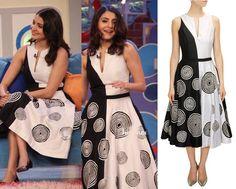 GET THIS LOOK: Anushka Sharma looks pretty in a Black and white spiral print dress by Urvashi Joneja - Label  Shop now:  http://www.perniaspopupshop.com/designers/urvashi-joneja
