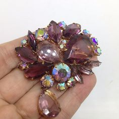 Vintage CLUSTER BROOCH PIN Purple & AB Glass Rhinestone w/ Dangle Gold Tone