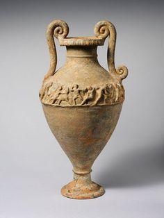 Terracotta neck-amphora (jar) Attributed to the Bolsena Group   Period:     Hellenistic Date:     ca. 200 B.C. Culture:     Etruscan