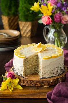 Lemon Poppy Seed Cake (with Cream Cheese Frosting) - Cooking Classy Yummy Treats, Delicious Desserts, Sweet Treats, Dessert Recipes, Cake With Cream Cheese, Cream Cheese Frosting, Poppy Seed Cake, Pound Cake Recipes, Gingerbread Cake