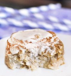 I make this all the time it is perfectly healthy and delicious topped with my harvested mac nuts. Cinnamon Roll Baked Oatmeal