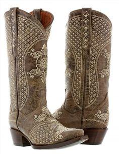 239.99$  Buy here - http://viyry.justgood.pw/vig/item.php?t=1fe469c35519 - Womens Brown Beige Leather Western Cowboy Wedding Boots Studs Rodeo Rhinestones