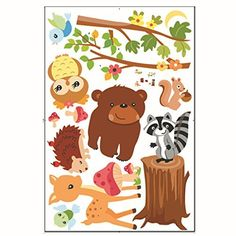 Ivenf Animals in the Woods Cartoon Wall Decal Bears Birds Deer Raccoon Removable Vinyl Stickers for Kids Rooms Baby Nursery Boys and Girls Bedroom -- Click image to review more details.Note:It is affiliate link to Amazon.